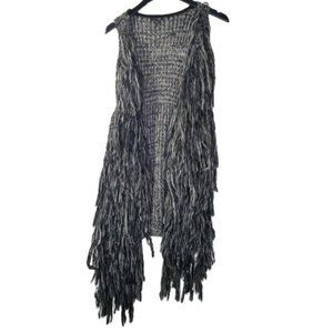 Copper Key Black Gray Fuzzy Knitted Duster Vest